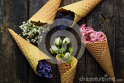 Waffles for ice cream with flowers