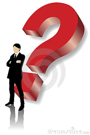 Business man standing in front of big red question