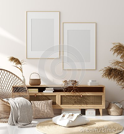 Mock up frame in home interior background, beige room with natural wooden furniture, Scandinavian style