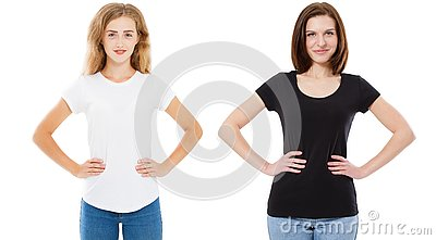 Woman in black and white t-shirt mock up, girl in tshirt isolated on white background, stylish tshirt - T-shirt design and people