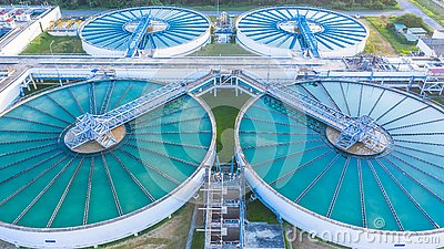 Aerial view recirculation solid contact clarifier sedimentation tank, Water treatment solution, Industrial water treatment