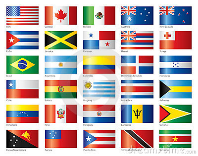 glossy flags set america oceania
