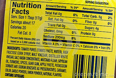Nutrition facts food label sodium servings
