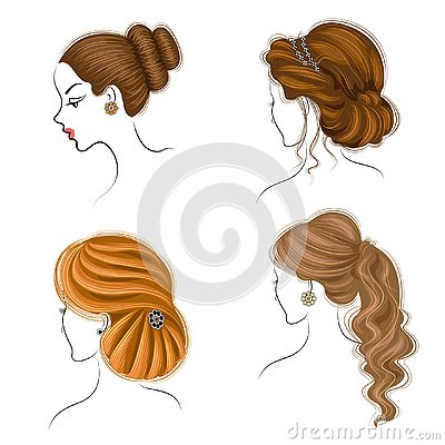 stock image of long braids creative brown hair, isolated on white background. hairstyles of a woman. set of vector illustrations
