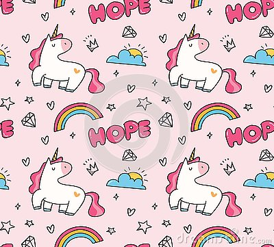 stock image of unicorn and rainbow seamless pattern in kawaii style vector
