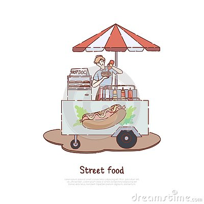 Fast meal sale business, seller cooking tasty snack, sausage, unhealthy quick lunch, takeaway service, hot dog trolley banner