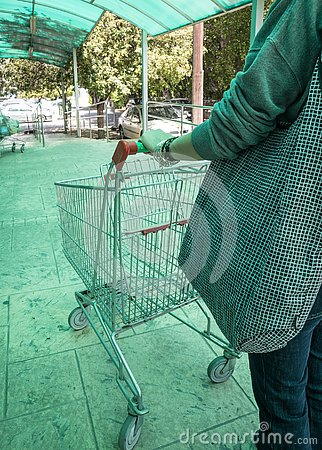 stock image of woman carrying a supermarket trolley