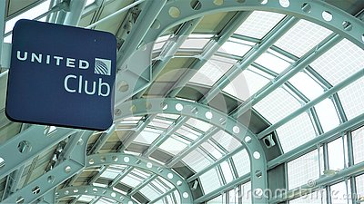 United Club sign, O`Hare Airport, April 2019