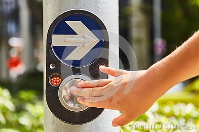 Button to activate the green traffic light