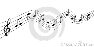 Black Music Notes in White Background