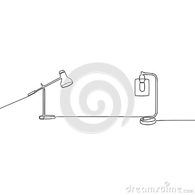 desk candle lamp and student lamp continuous line Lamp vector. Outline set of lamp icons for web design isolated on white