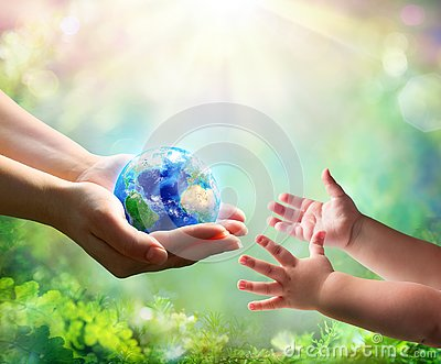Mother Give Blue Earth In Daughter Hands