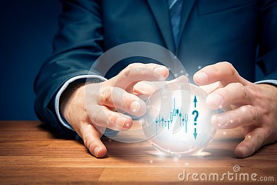 Investment prediction concept with crystal ball