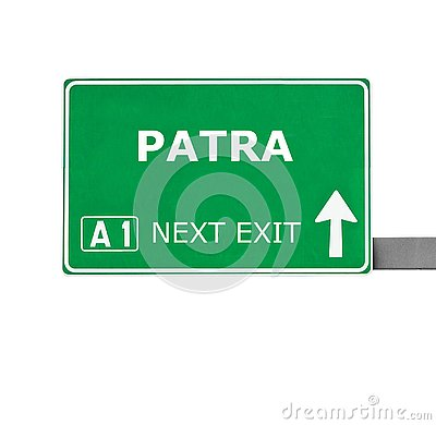 PATRA road sign isolated on white