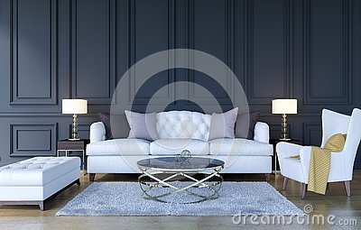 Modern classic luxury living room interior background with copy space on wall, 3D Rendering