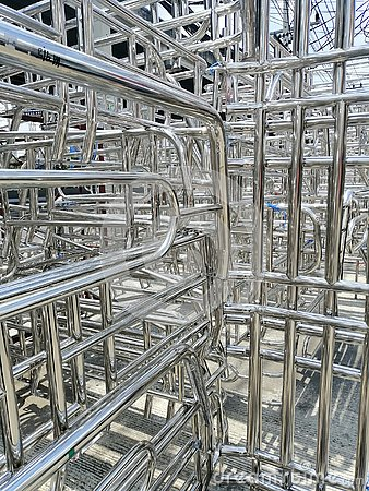 stock image of metals and aluminum steel frame