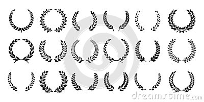 Silhouette laurel wreath. Greek olive branch, champion award emblems, leaves round prizes symbols. Vector black laurels