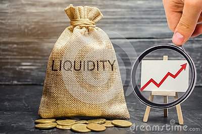 Money bag and arrow up. Increase liquidity and profitability of investments. High interest rates on deposits and securities.