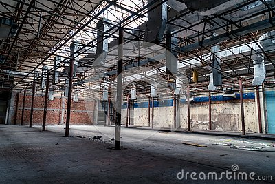The abandoned industrial building. Fantasy interior scene