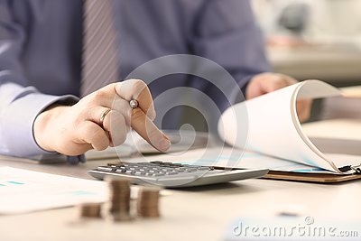 Businessman Calculate Funds Tax Report Concept