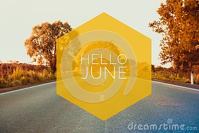 Banner hello june. Text on the photo. Text hello June. New month. New season. Summer month. Text on sunset photo