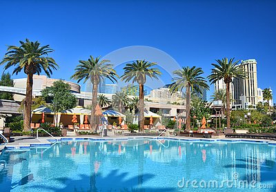 Outdoor swimming pool at MGM Grand hotel in Las Vegas