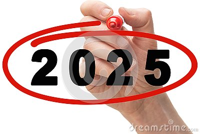 Red marker pen drawing circle around year 2025
