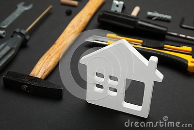 Home repair service, abstract hardware building. Construction creative concept