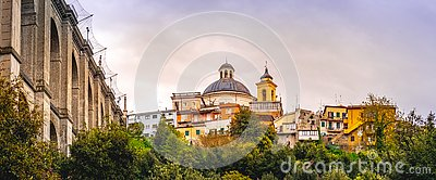 Ariccia bridge and village skyline panoramic horizontal rome suburb in Lazio on Castelli Romani