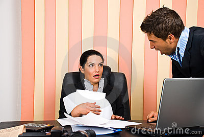 Angry boss with employer
