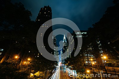 42nd Street at night, seen from Tudor City in Midtown Manhattan, New York City
