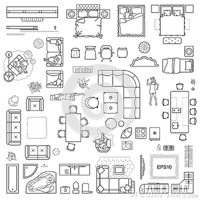 Floor plan icons set for design interior and architectural project view from above. Furniture thin line icon in top view