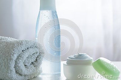 Refreshing skin care products. Health/body care cosmetics objects