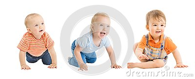 Babies Boys, Crawling and Sitting Infant Kids Group, Toddlers Children on White