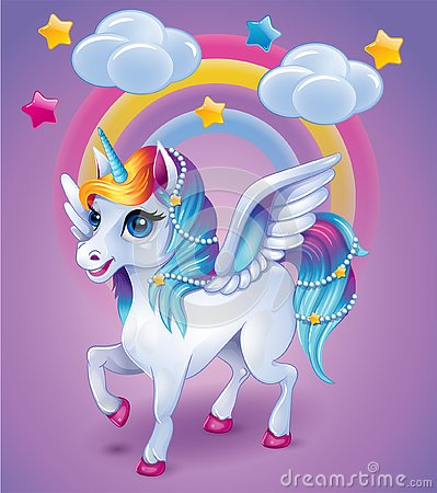 Unicorn with colorful hear on rainbow background