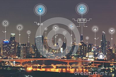 Internet of Things IoT, Smart city with smart services and icon or hologram, Communication network service and Business concept