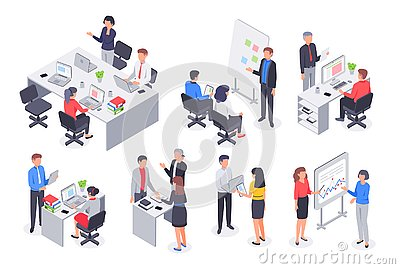 Isometric business office team. Corporate teamwork meeting, employee workplace and people work 3D vector illustration