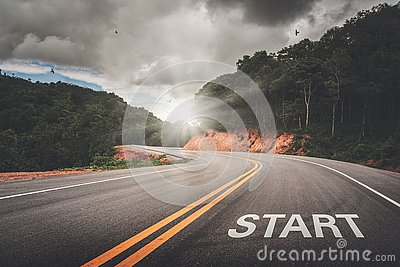 START point on the road of business or your life success. The beginning to victory