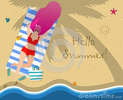 Young Woman on Beach. Hello Summer Typography