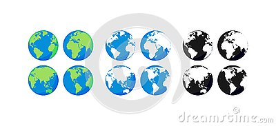 Big collection Earth globes. Black and Color Globes. Globe and Earth icon set. World map. Planet. Vector illustration