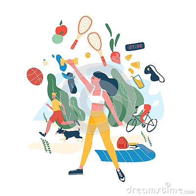 People performing sports activities or exercise and wholesome food. Concept of healthy habits, active lifestyle, fitness