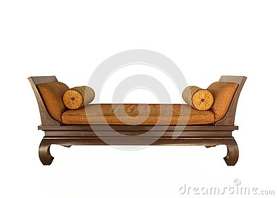 Antique bed with mattress round resting pillow, Thai traditional style. isolated on white