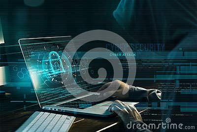 Cyber security concept. Internet crime. Hacker working on a code and network with lock icon