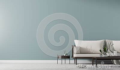 Interior wall mock up with Scandinavian style sofa with coffe table. Minimalist interior design. 3D illustration