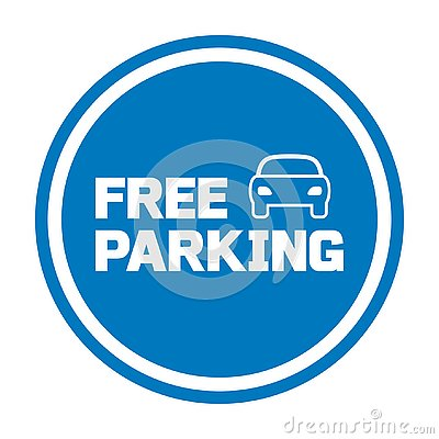 Free parking sign with car icon