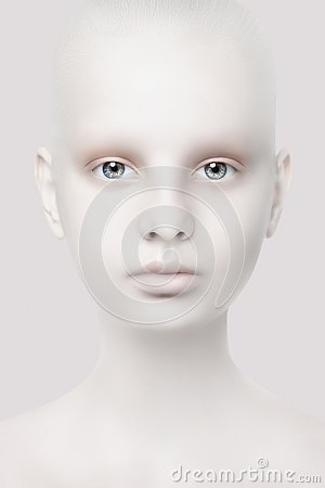 Unusual portrait of a young girl. Fantastic appearance. White skin. Head close-up.