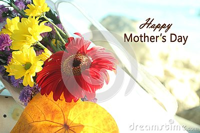 Happy Mothers Day greetings- with beautiful flower bouquet in soft tone background