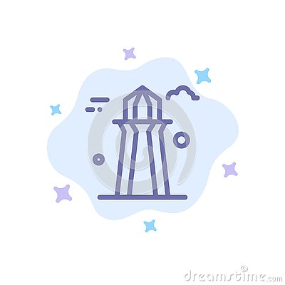 stock image of canada, co tower, canada tower, building blue icon on abstract cloud background