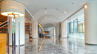 Modern commercial building lobby office corridor  hotel  hall