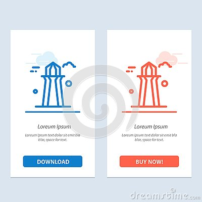 stock image of canada, co tower, canada tower, building  blue and red download and buy now web widget card template
